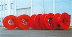 Fabricated or structural steel reels and steel reels with finned flanges for cables