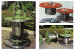 Collapsible reels with mechanical, pneumatic or hydraulic release