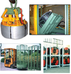Pallets, basket, lifters, tilters and spools reconditioning machine