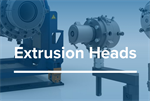 Extrusion heads for pipe and tube production lines