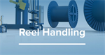 Reel handling for wire and cable production lines