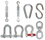 Stainless steel and galvanized steel accessories for chains