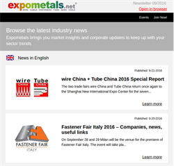New upgrades and a new fair for the web platform Expometals.net